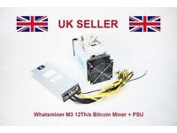 Whatsminer M3 12Th/s Bitcoin Miner + PSU (like Bitmain Antminer S9) IN HAND UK