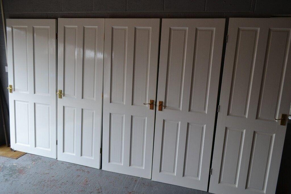 11 Internal 4 Panel Wood Doors with Brass Door Furniture