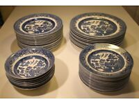 Churchill Willow Pattern Crockery – 44 pieces bowls and plates