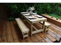 Brand New, Hand-Crafted Outdoor Table and Bench set. Six-seater. (Garden/Patio).