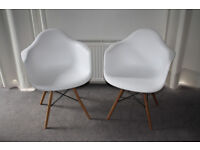 Details about Matching Pair of Charles Eames Inspired White Polypropylene Armchairs