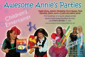 Children's Party Entertainer, Balloon twister, face painter, bubbles, puppets, games, disco!