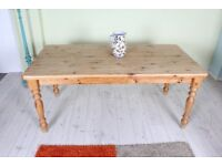 DELIVERY OPTIONS - PINE FARMHOUSE KITCHEN TABLE WAXED STURDY RUSTIC TURNED LEGS