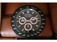 rolex wall clock ..dealer display .steel outer cases ..sweeping second hands