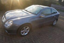 Mercedes, C-180 Coupe, 2007, blue, auto, petrol, MOT, Less mileage, Service history, For quick sale