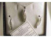 Lydia Real Sterling Silver Crystal Drop Necklace & Earring Set