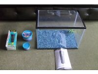 Fish tank plus filter plus food