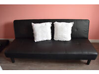 FAUX BLACK LEATHER CONTEMPORARY 3 SEATER SOFA BED - £50