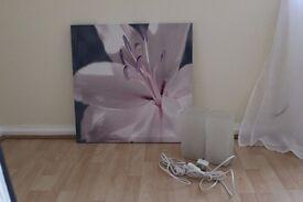 purple flower picture, 2ft square and two IKEA small frosted glass lamps