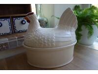 Large ceramic hen / chicken egg holder