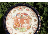 "Large 10.5"" Antique Display Plate made for 1911 Coronation of King George V & Queen Mary"