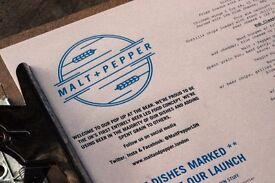 Join Malt + Pepper! We're looking for a Sous Chef or experienced CDP.