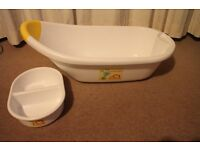 Collection of baby bathroom equipment including bath, tub, box and baby seat £25 ono