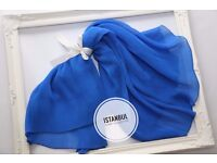 £14 Blue Pleated Shawl & Scarf - Brand New