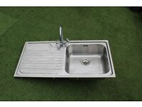 Used Stainless steel I meter Kitchen sink with Mixer Tap
