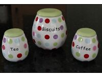3 piece storage set: Coffee, Tea and Biscuit