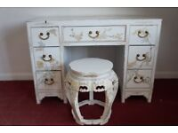 Vintage Chinese White Lacquer Pedestal Desk/Dressing table and Stool