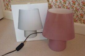Habitat pink 'flore' glass table/bedside lamp