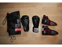 Kickboxing gloves, feet protectors and bag - great condition