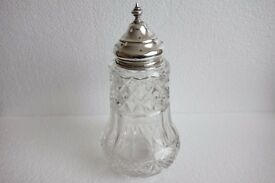 sugar shaker chester 1913 Silver and crystal cut glass