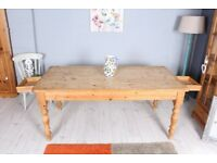 DELIVERY OPTIONS - 6 FT PINE RUSTIC SHABBY CHIC FARMHOUSE TABLE 2 DRAWERS
