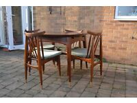 Mid century modern extending dining table and chairs