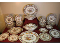 Stunning Antique 1870s Victorian Dinner Service 50 Piece Indian Jar Bird Plate Platter Rare
