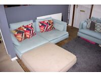 Ikea Sofa - Soderhamn - 2 x 3 Seater, 1 x footstool - Modular - Corner - Turquoise