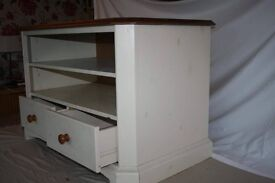 Wooden tv unit white wash and wood