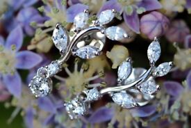 New 18ct White Gold 1.12ct Diamond Floral-vine Drop Earrings