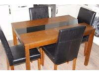 4 Seater Wooden Dining Table and Chairs - Colour Walnut/Black