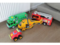 Large Kids Vehicles (Fire Engine, Helicopter, Bin Lorry & Racer)