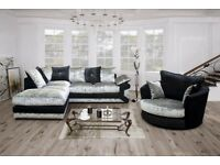 **YOUR REQUIRED SOFA**BRAND NEW MAX CORNER OR 3+2 SOFA COUCH SETTEE IN CRUSHED VELVET FABRIC DIAMOND