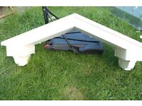 Second Hand Used Apex Door Canopy Rain Shelter White Fibreglass Garden Shed Outbuilding