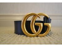 Women's Leather Double G Black Gucci Belt