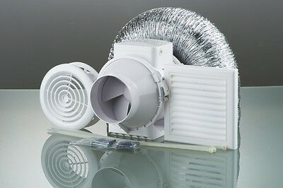 Bathroom Shower Fan Kit Loft Ceiling Mounted Extractor Duct Vent & Sofit - Timer