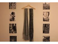 Two scarves - grey knit and beautiful shimmer/gypsy style