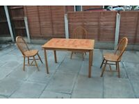 Pine Tile Dining Table with Chairs