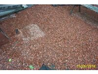 there is about 4 tons of red granite chips for collection. no cost.