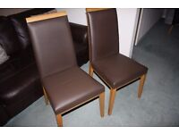 Pair of Brown Leather High Back Dining Chairs