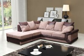 SAME DAY DELIVERY! New jumbo cord Fabric Dino 3 + 2 seater or corner sofa set in black and brown
