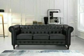 💖🔴AMAZING OFFER🔵💖CHESTERFIELD PU LEATHER SOFA 3 SEATER-CASH ON DELIVERY