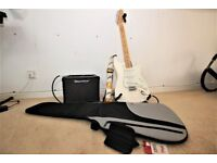 Fender Stratocaster (Mexico) White with a maple neck. Amp, Stand and Soft case all as new!!!