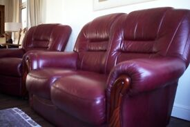 SCS Red Geniun Leather Sofa, 3 Seater + 2 Seater + 1 Recliner chair+ 1 footstool