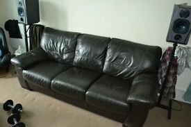 Brown leather couch - free.