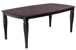 Victoria Boat Shape Solid Wood Dining Table In Distressed Light Cherry And Black