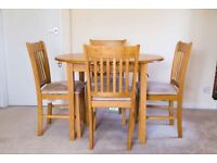 Extending Oak Dining Table + 4 Suede Dining Chairs