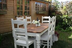 STUNNING, SHABBY CHIC, PINE, 6 ft, FARMHOUSE, DINING TABLE & SIX CHAIRS - F & B paint - Off White
