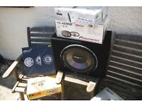 Assorted car amps and speakers