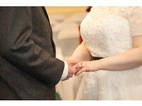 Vintage Style Wedding Dress | Black Bow & lace detail | Size 16 - 18